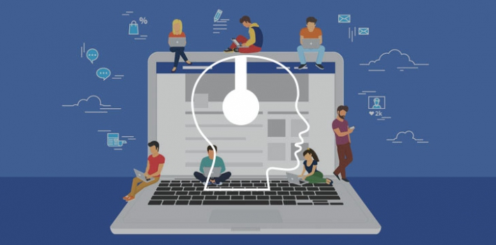 Social media on a laptop illustration