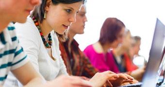 Students using laptops