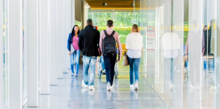 Students in a university building