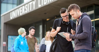 Students outside the University of Lincoln