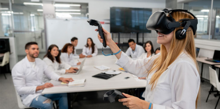 Students using a VR headset in the classroom