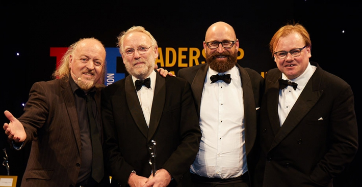 Left to right: Bill Bailey, 2017 THELMA award-winners from the Open University's OpenSTEM team, Phil Richards, chief innovation officer at Jisc