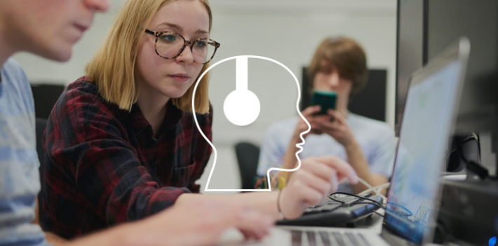 University of Bath students working at a computer (with podcast graphic)