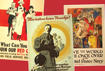 Poster montage used to promote the World War 1 Centenary: Continuations and Beginnings project