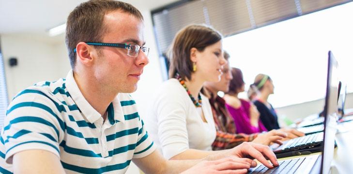 University students using laptops