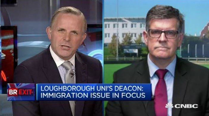 Professor David Deacon interviewed by CNBC about Loughborough University's analysis of media coverage on the EU referendum
