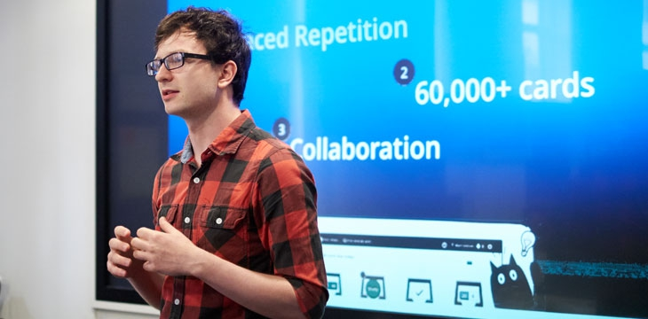 Student giving a presentation
