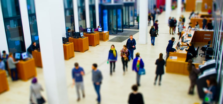 Students in entrance hall