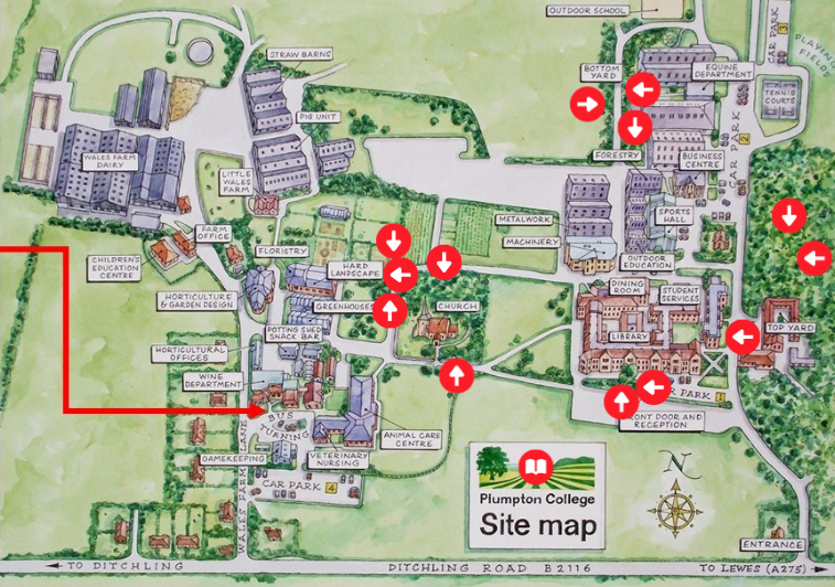 A 2D map with a tree identification tool for the Plumpton campus