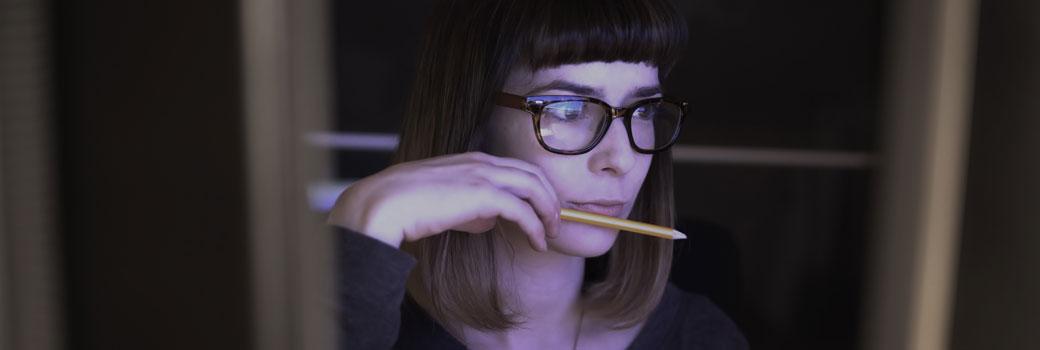 Person looking at screens