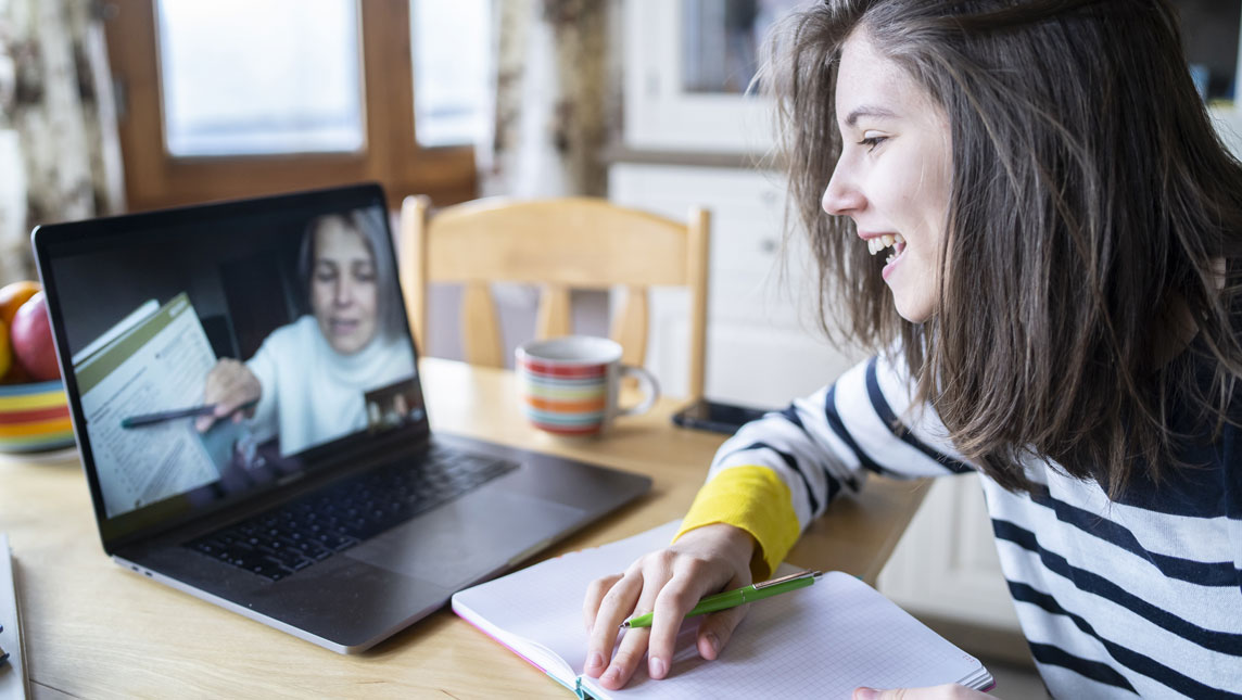 Student and teacher on video call