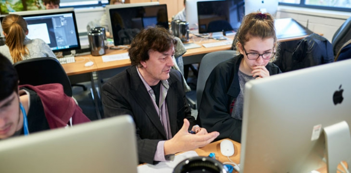 Teaching in the computer lab at North Lindsey College