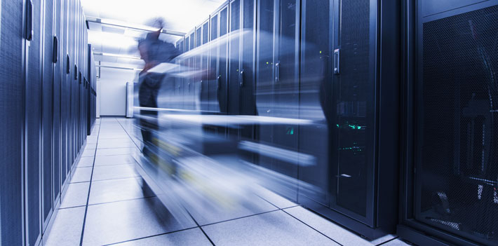 Long exposure of person in a server room