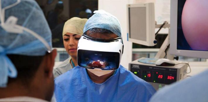 Shafi Ahmed performing surgery using virtual reality