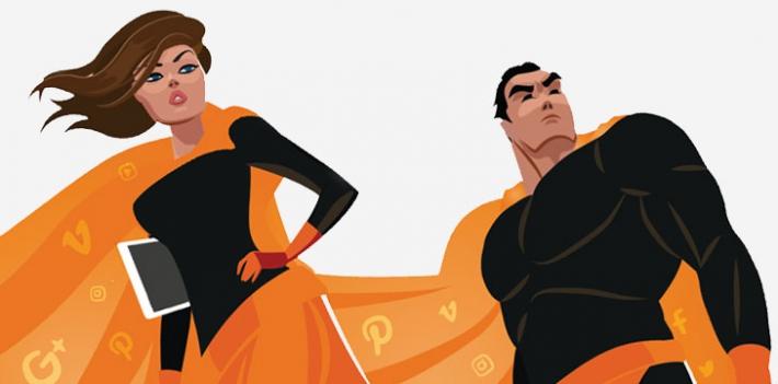 Social media superheroes illustration