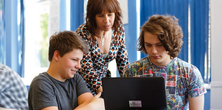 Tutor and learners at Cornwall College