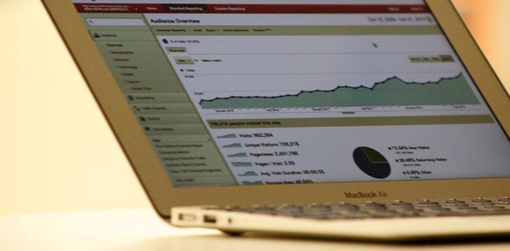 Analytics on a laptop screen